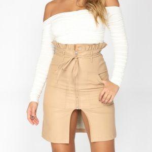 Faux Leather high waist tie skirt